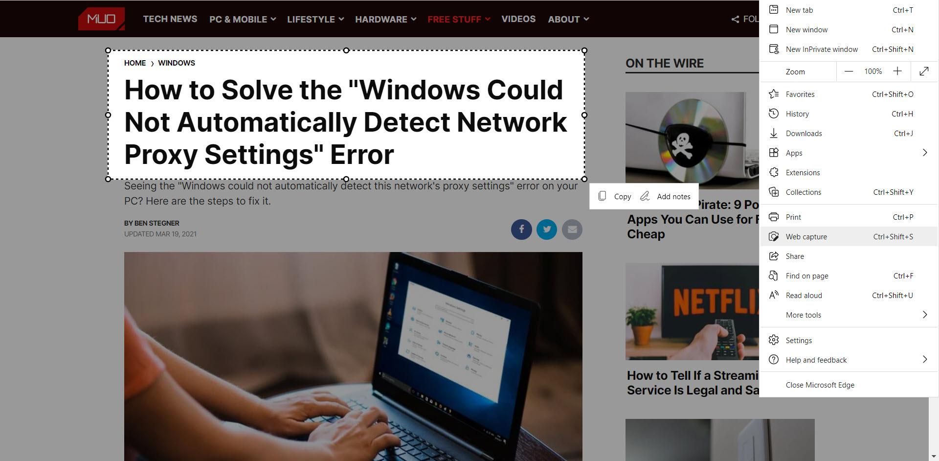 Microsoft Edge Web Capture Feature